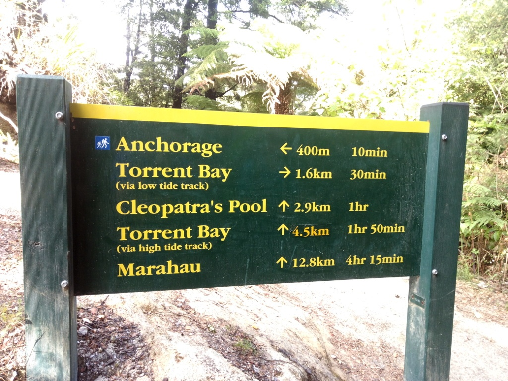 Señalización en Abel Tasman Coast Track
