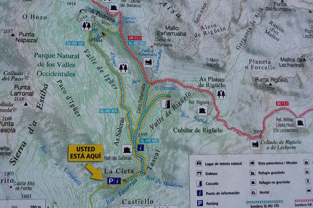 Plano sendero SL-HU-105 Circo de Igüer en el Valle de Aísa
