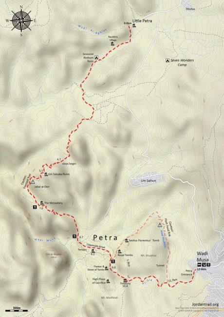 Mapa del sendero de La Pequeña Petra a Petra