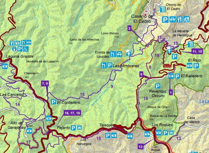 Mapa de la ruta Gran Circular de Garajonay