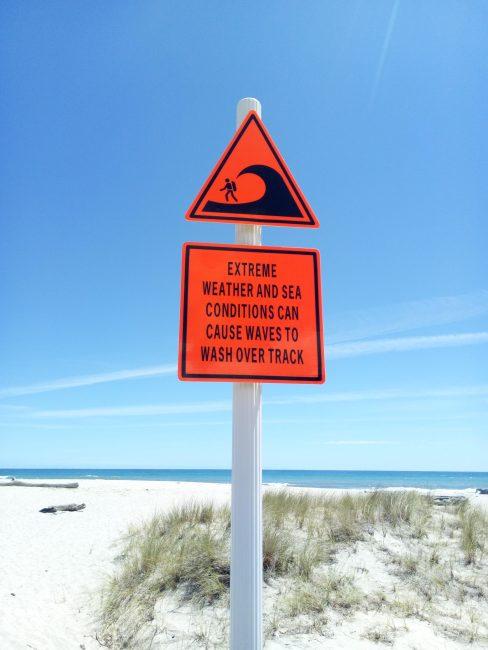 Señales de advertencia en Heaphy Track