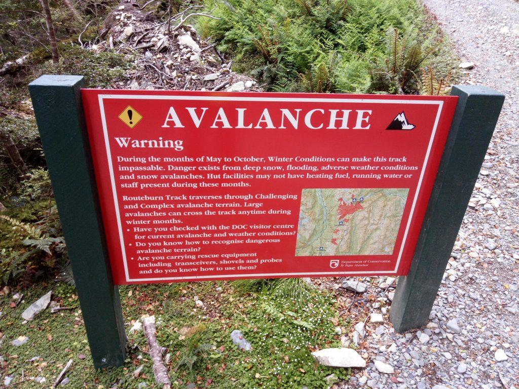 Aviso de avalanchas en Routeburn Track