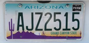 EEUU Oeste Matrícula Arizona